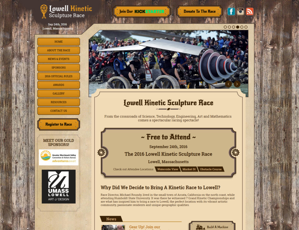 Lowell Kinetic Sculpture Race Website Design