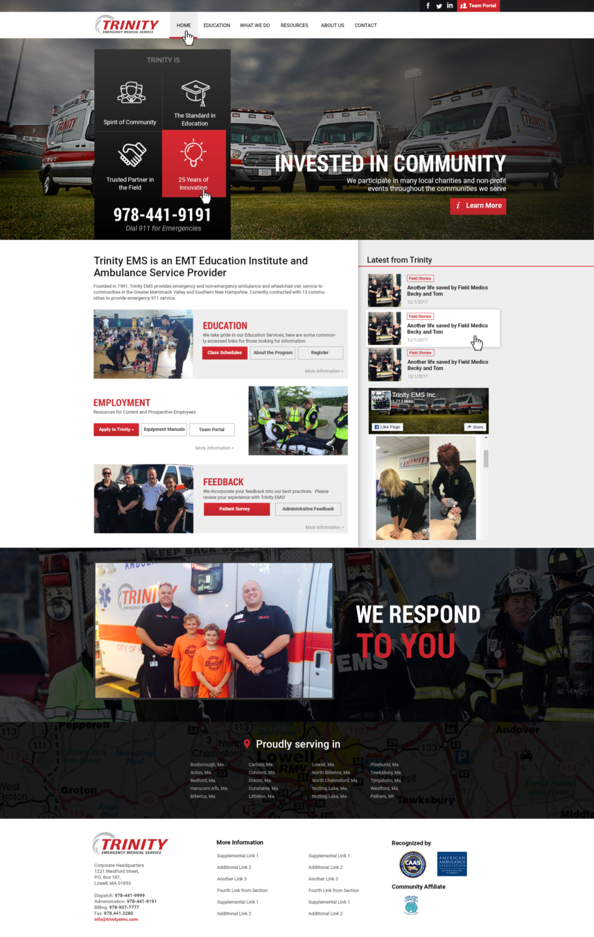 Trinity EMS Ambulance Website Design